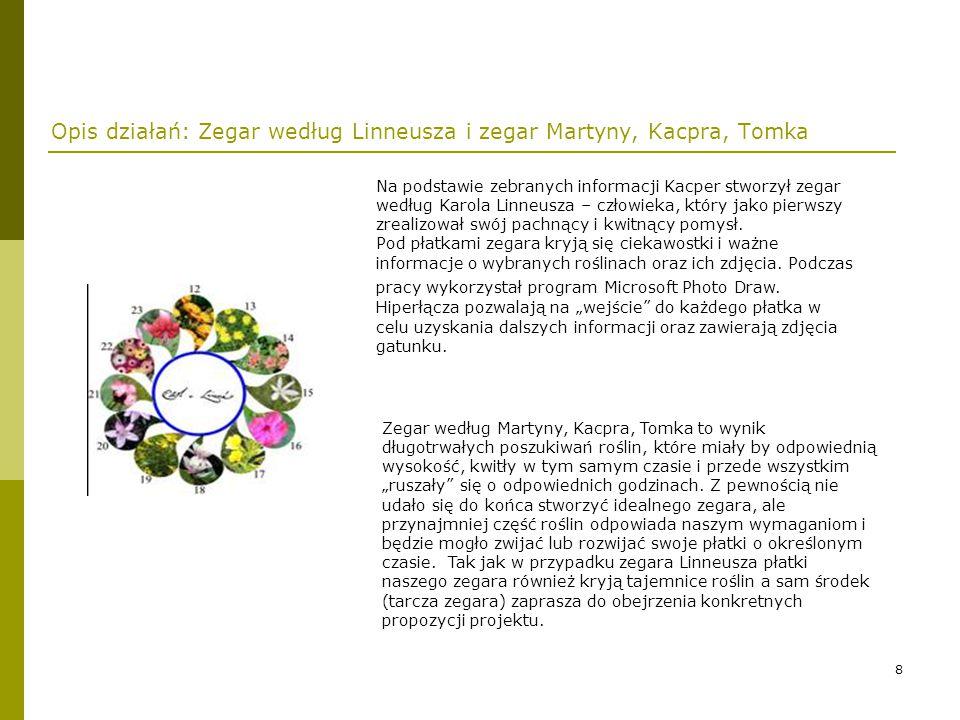 Opis działań: Zegar według Linneusza i zegar Martyny, Kacpra, Tomka