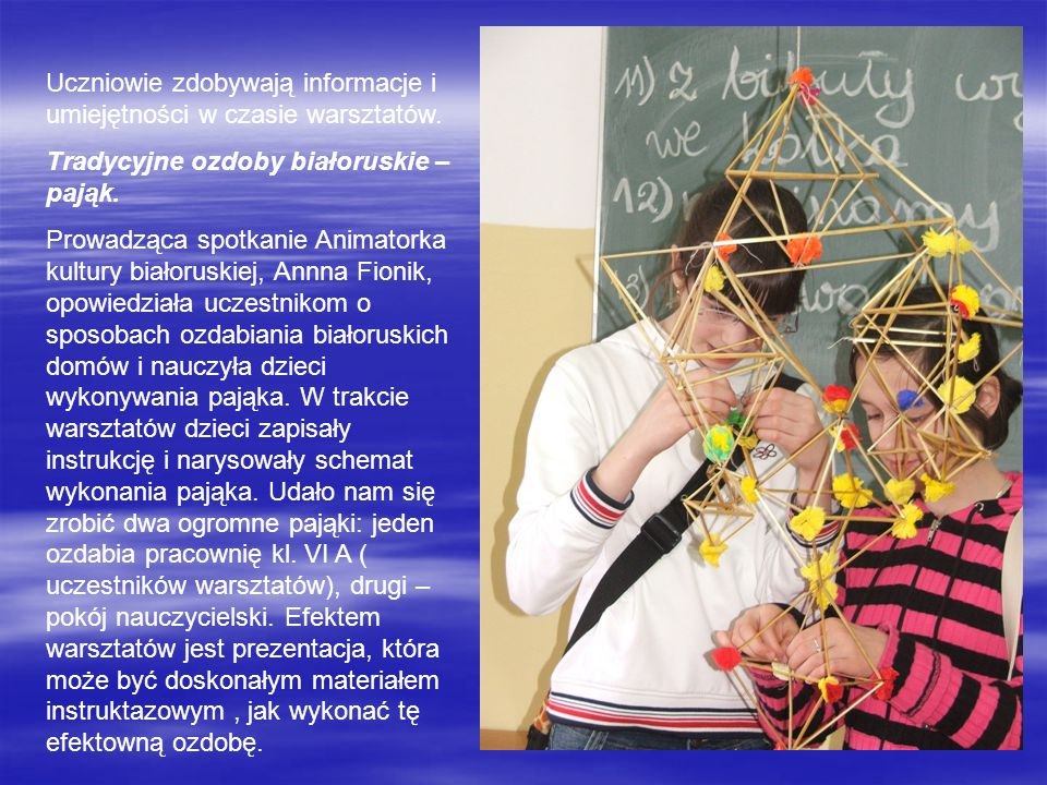 Uczniowie zdobywają informacje i umiejętności w czasie warsztatów.