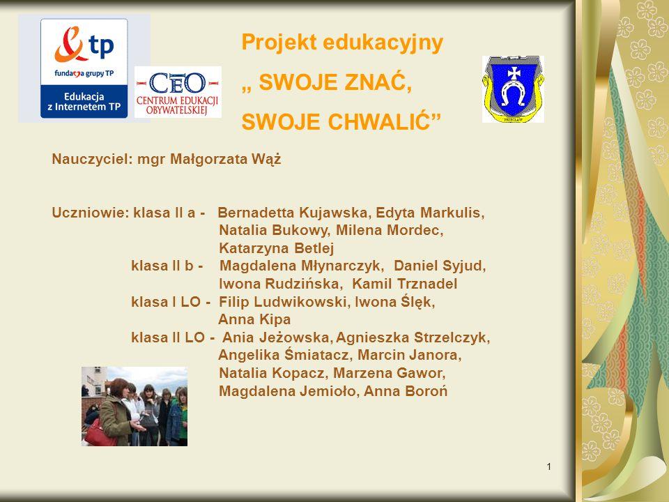 """Projekt edukacyjny """" SWOJE ZNAĆ, SWOJE CHWALIĆ"""