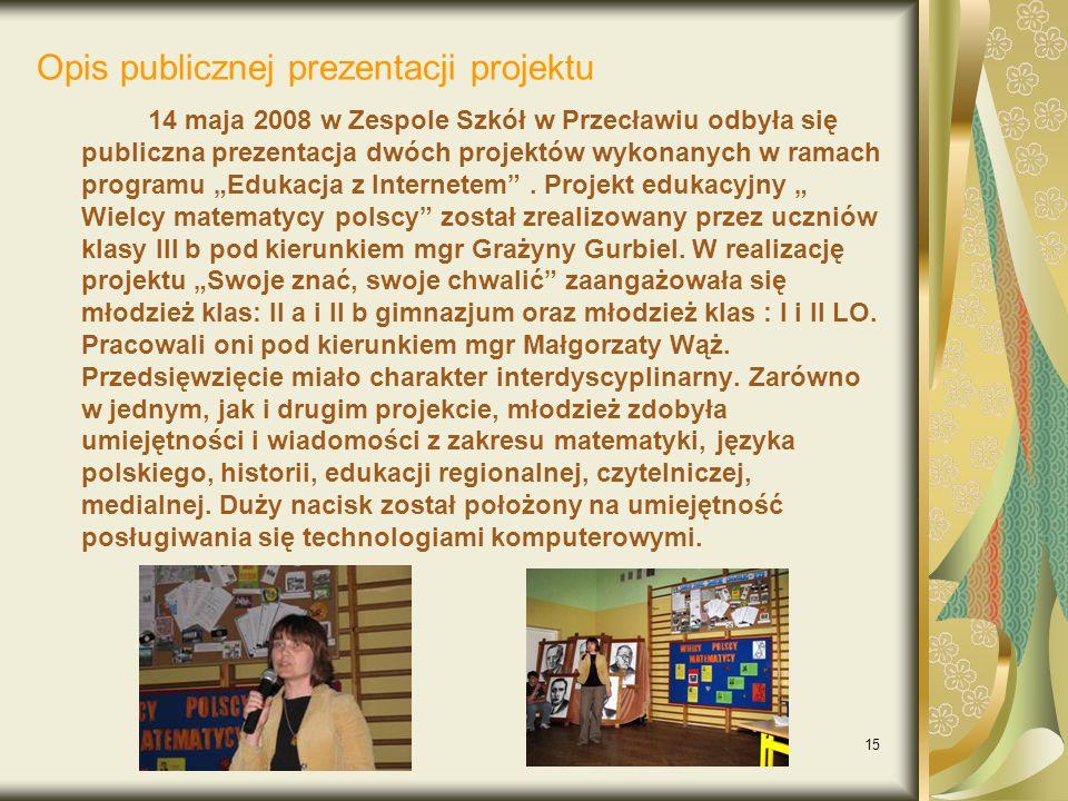 Opis publicznej prezentacji projektu