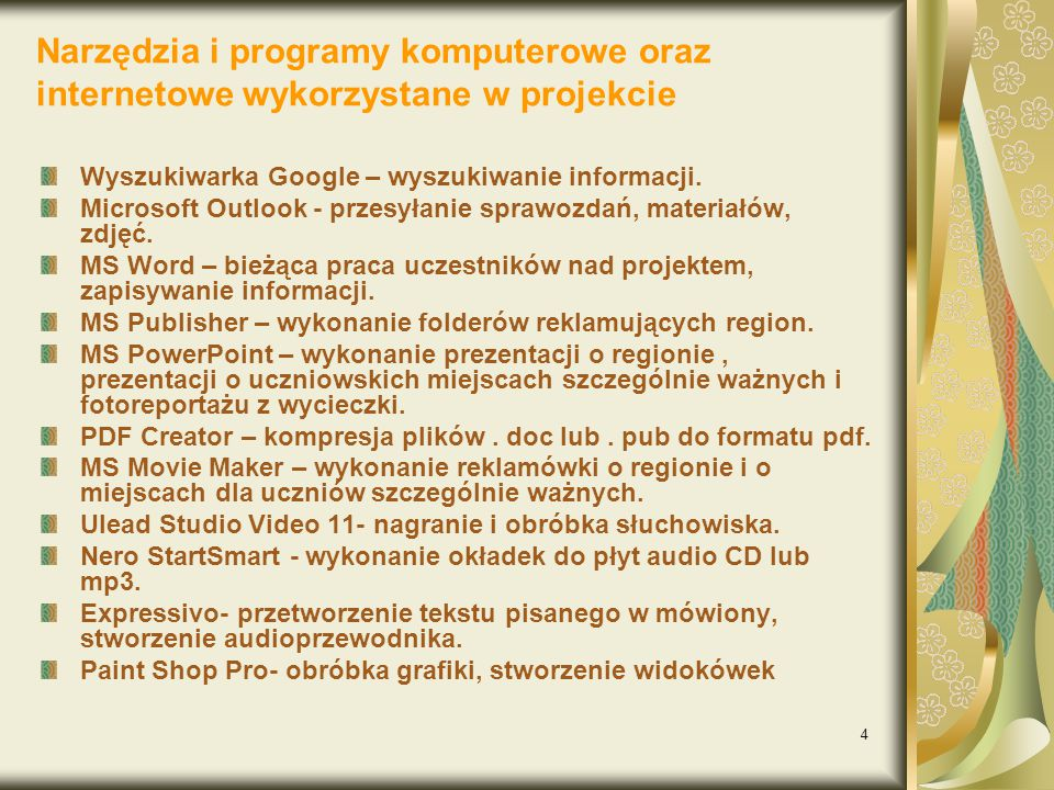 Narzędzia i programy komputerowe oraz internetowe wykorzystane w projekcie