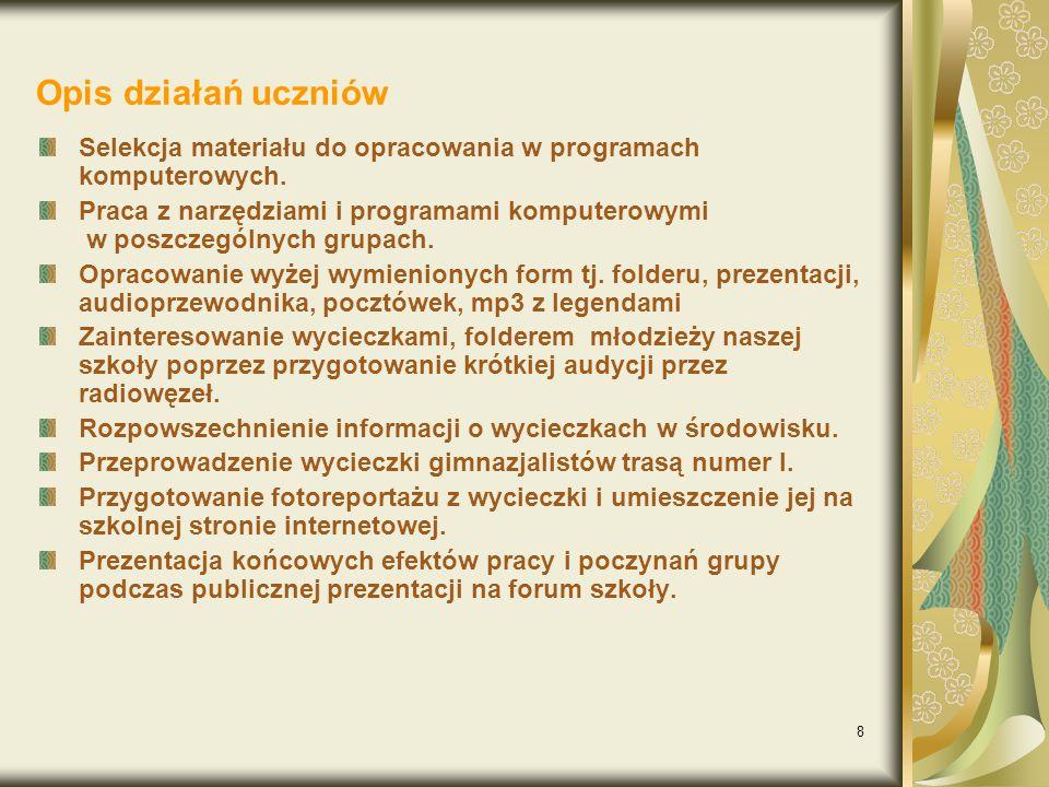 Opis działań uczniów Selekcja materiału do opracowania w programach komputerowych.