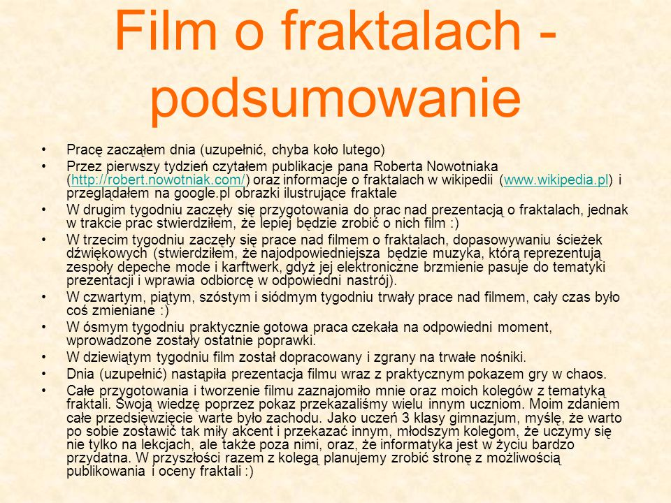 Film o fraktalach - podsumowanie