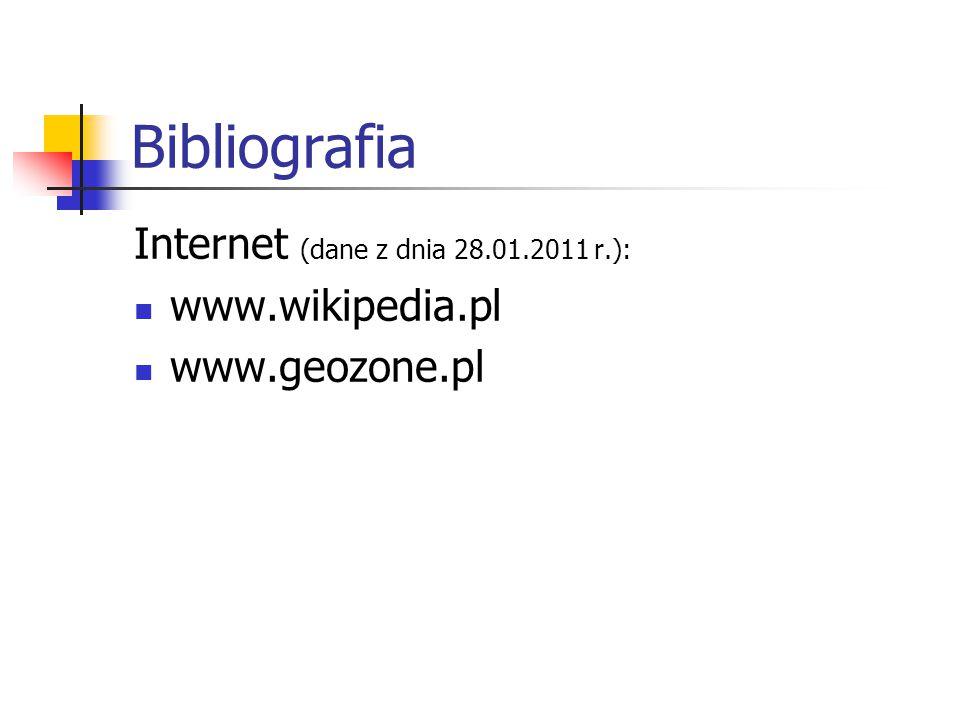 Bibliografia Internet (dane z dnia 28.01.2011 r.): www.wikipedia.pl