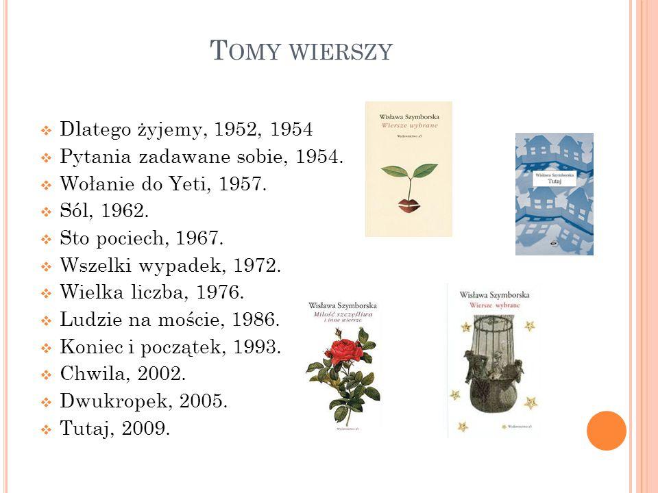 Tomy wierszy Dlatego żyjemy, 1952, 1954 Pytania zadawane sobie, 1954.