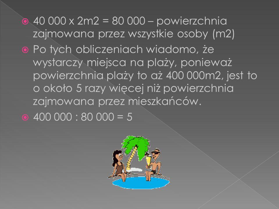 40 000 x 2m2 = 80 000 – powierzchnia zajmowana przez wszystkie osoby (m2)