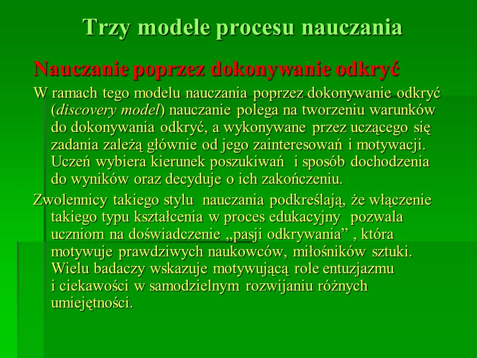Trzy modele procesu nauczania