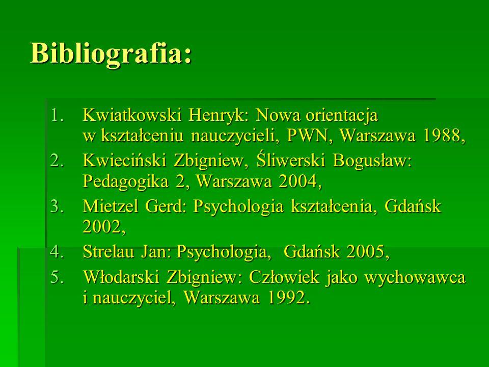 Bibliografia: Kwiatkowski Henryk: Nowa orientacja w kształceniu nauczycieli, PWN, Warszawa 1988,