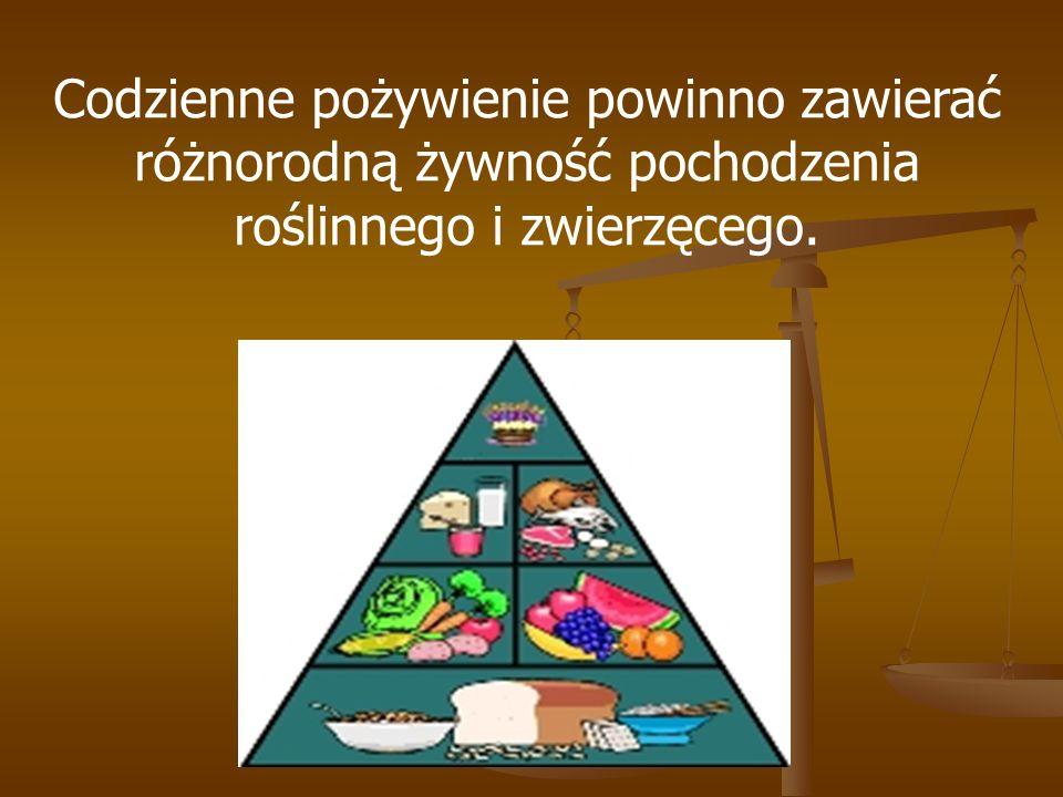 Codzienne pożywienie powinno zawierać różnorodną żywność pochodzenia roślinnego i zwierzęcego.