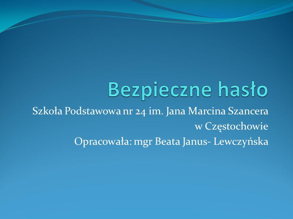 Bezpieczne hasło Szkoła Podstawowa nr 24 im. Jana Marcina Szancera