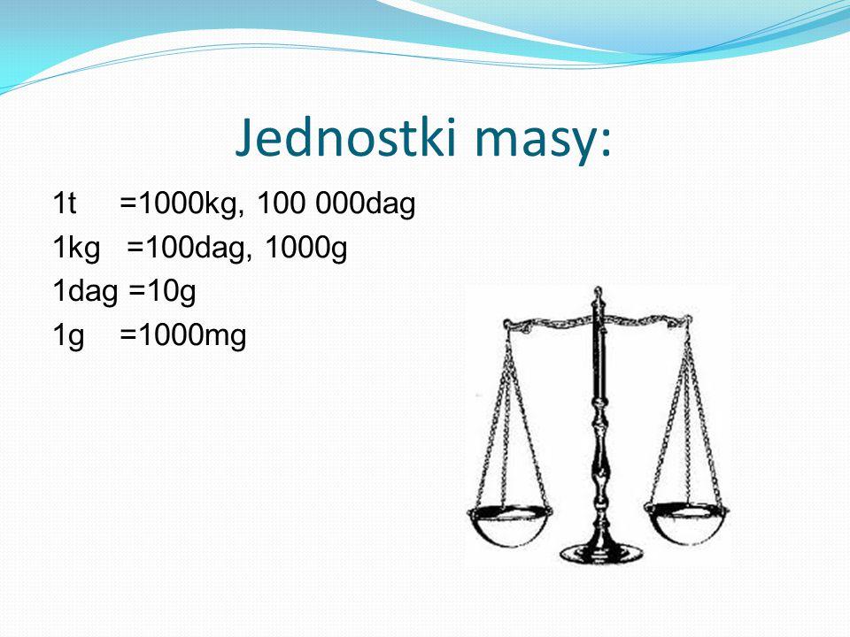 Jednostki masy: 1t =1000kg, 100 000dag 1kg =100dag, 1000g 1dag =10g 1g =1000mg