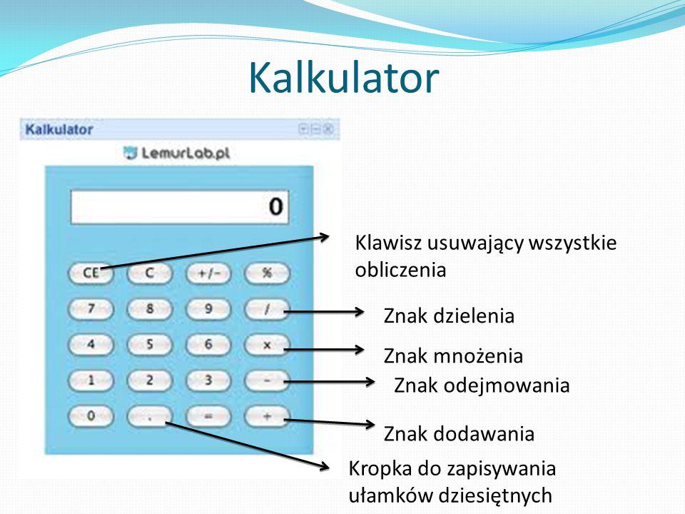 Kalkulator Klawisz usuwający wszystkie obliczenia Znak dzielenia