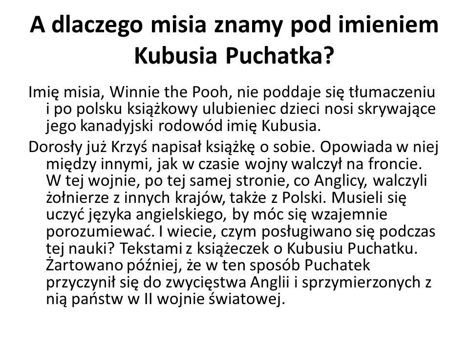 A dlaczego misia znamy pod imieniem Kubusia Puchatka
