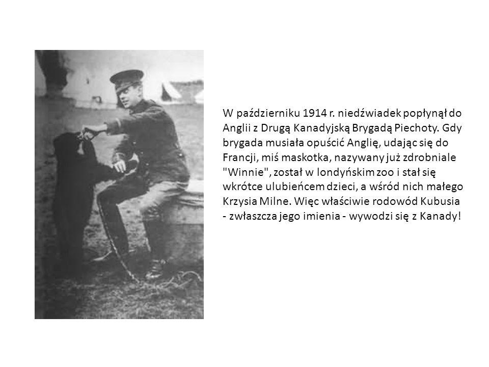 W październiku 1914 r. niedźwiadek popłynął do Anglii z Drugą Kanadyjską Brygadą Piechoty.