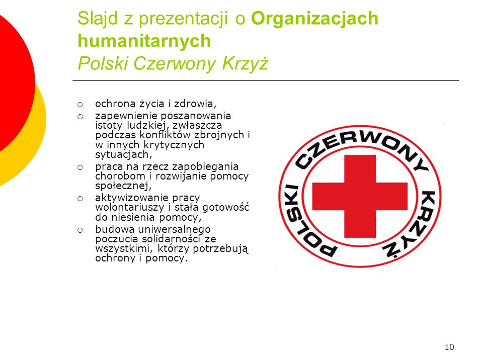 Slajd z prezentacji o Organizacjach humanitarnych Polski Czerwony Krzyż