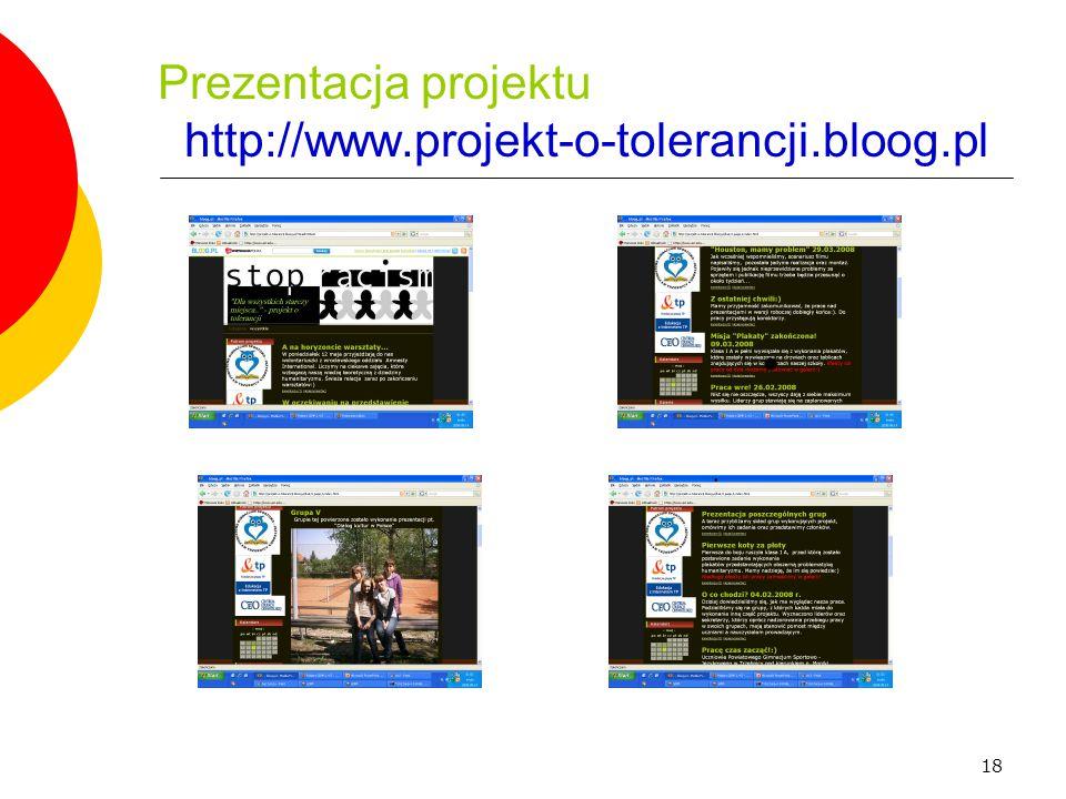 Prezentacja projektu http://www.projekt-o-tolerancji.bloog.pl