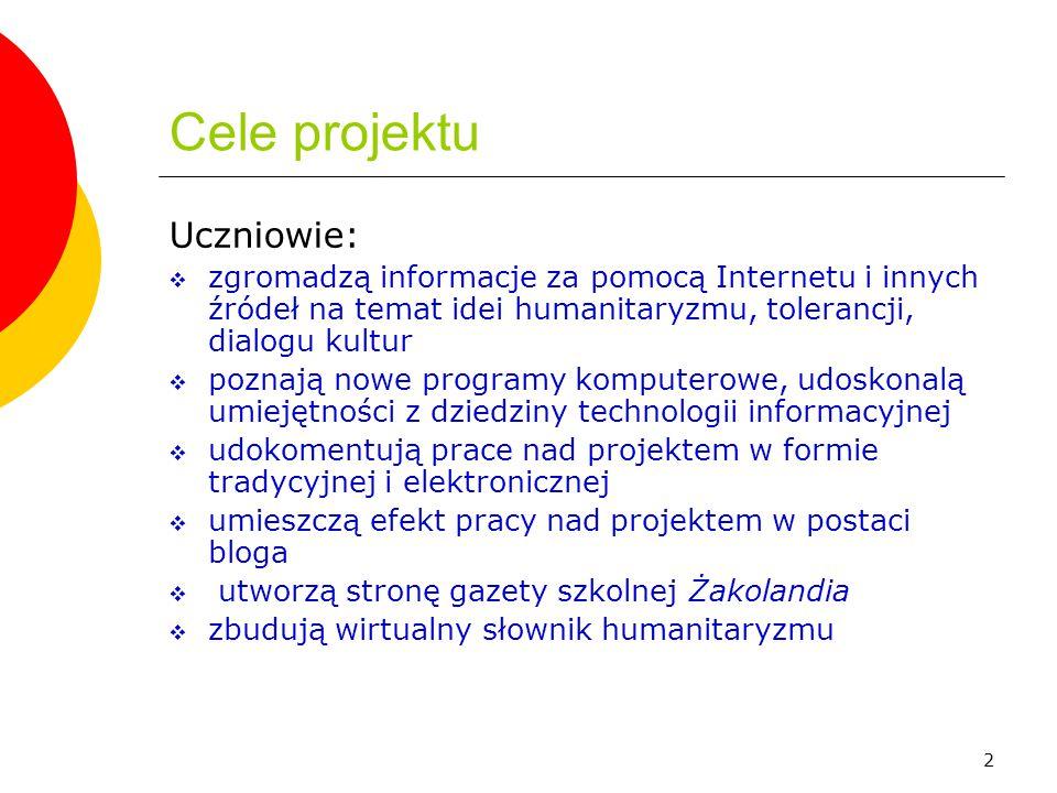 Cele projektu Uczniowie: