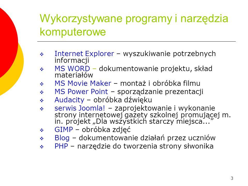 Wykorzystywane programy i narzędzia komputerowe