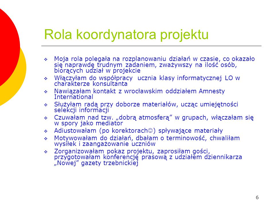 Rola koordynatora projektu