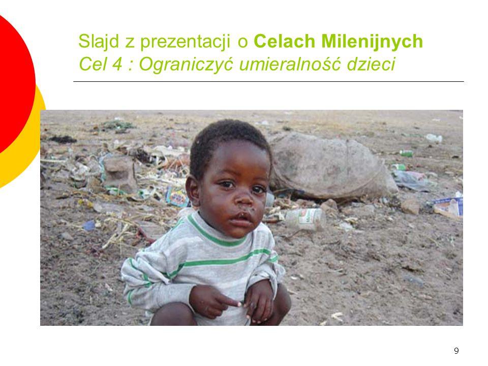 Slajd z prezentacji o Celach Milenijnych Cel 4 : Ograniczyć umieralność dzieci