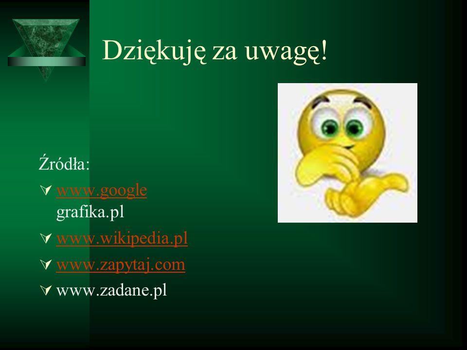 Dziękuję za uwagę! Źródła: www.google grafika.pl www.wikipedia.pl