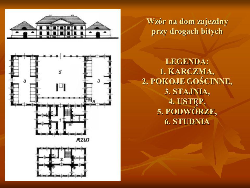 Wzór na dom zajezdny przy drogach bitych LEGENDA: 1. KARCZMA, 2