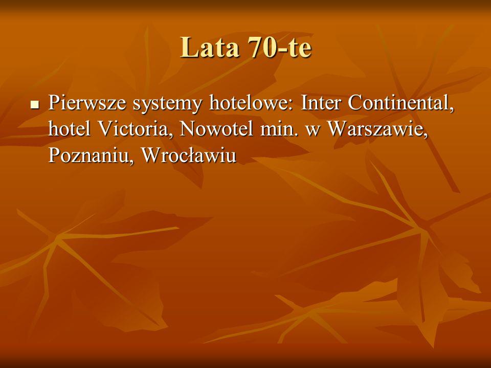 Lata 70-te Pierwsze systemy hotelowe: Inter Continental, hotel Victoria, Nowotel min.