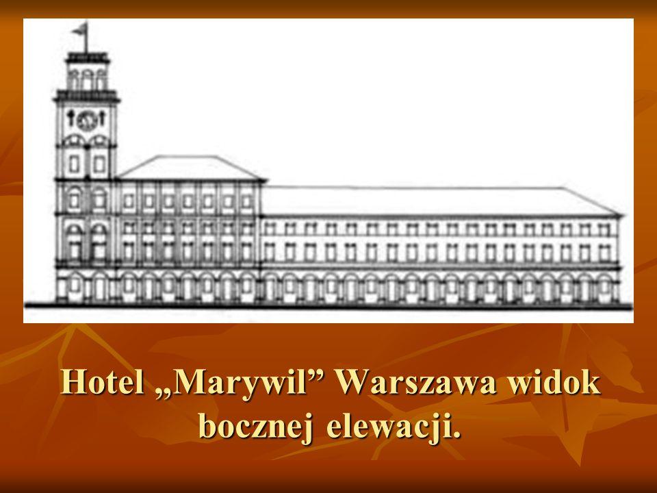 """Hotel """"Marywil Warszawa widok bocznej elewacji."""
