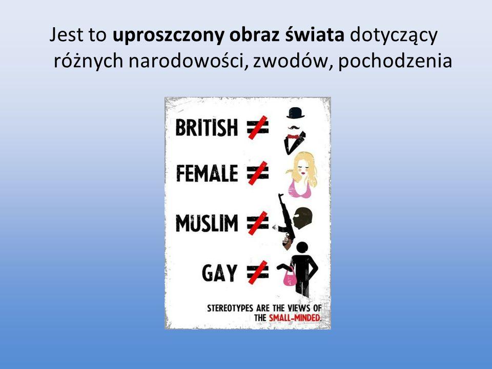 Jest to uproszczony obraz świata dotyczący różnych narodowości, zwodów, pochodzenia