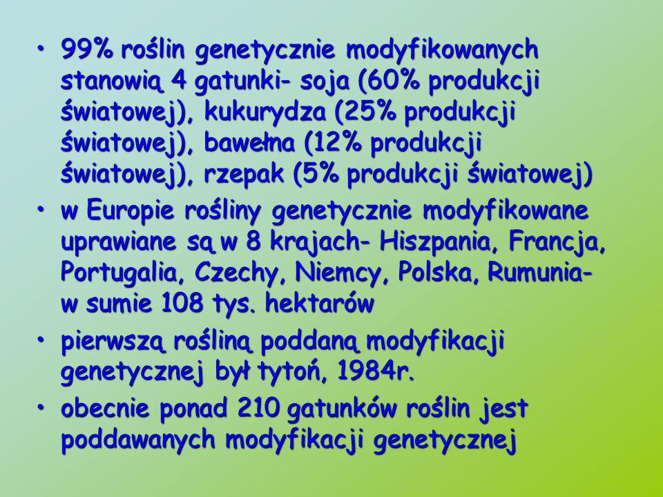 99% roślin genetycznie modyfikowanych stanowią 4 gatunki- soja (60% produkcji światowej), kukurydza (25% produkcji światowej), bawełna (12% produkcji światowej), rzepak (5% produkcji światowej)