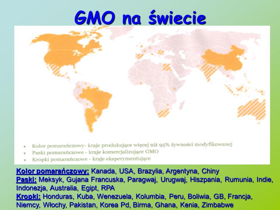 GMO na świecie Kolor pomarańczowy: Kanada, USA, Brazylia, Argentyna, Chiny.
