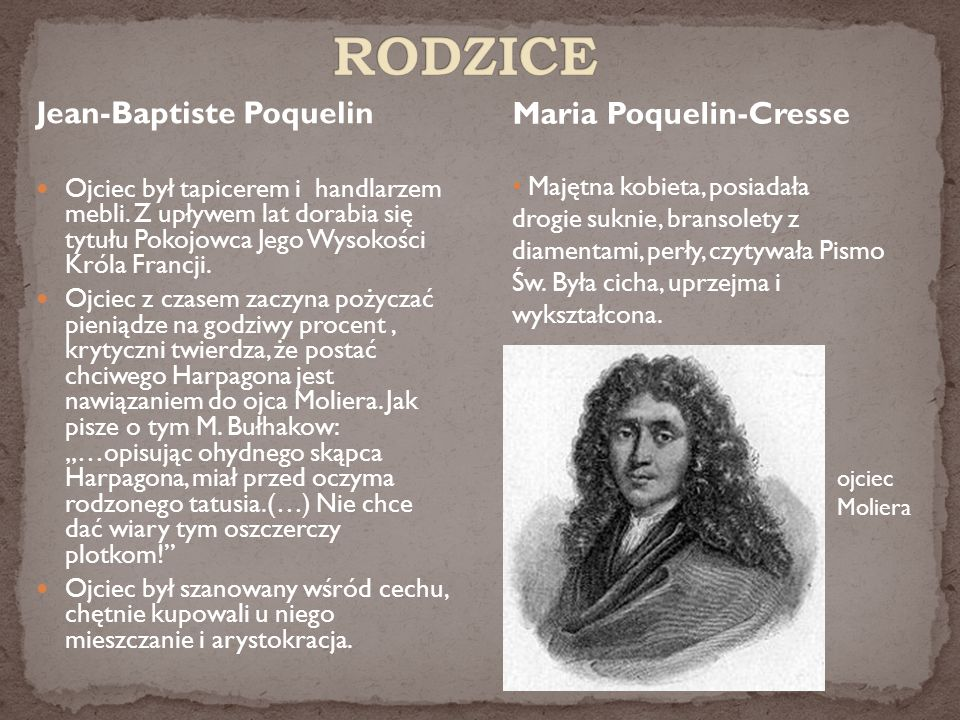 RODZICE Maria Poquelin-Cresse Jean-Baptiste Poquelin