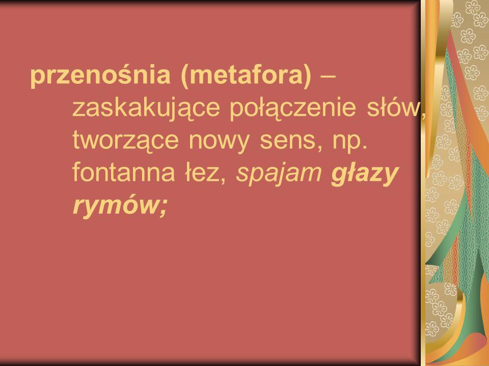 przenośnia (metafora) – zaskakujące połączenie słów, tworzące nowy sens, np.