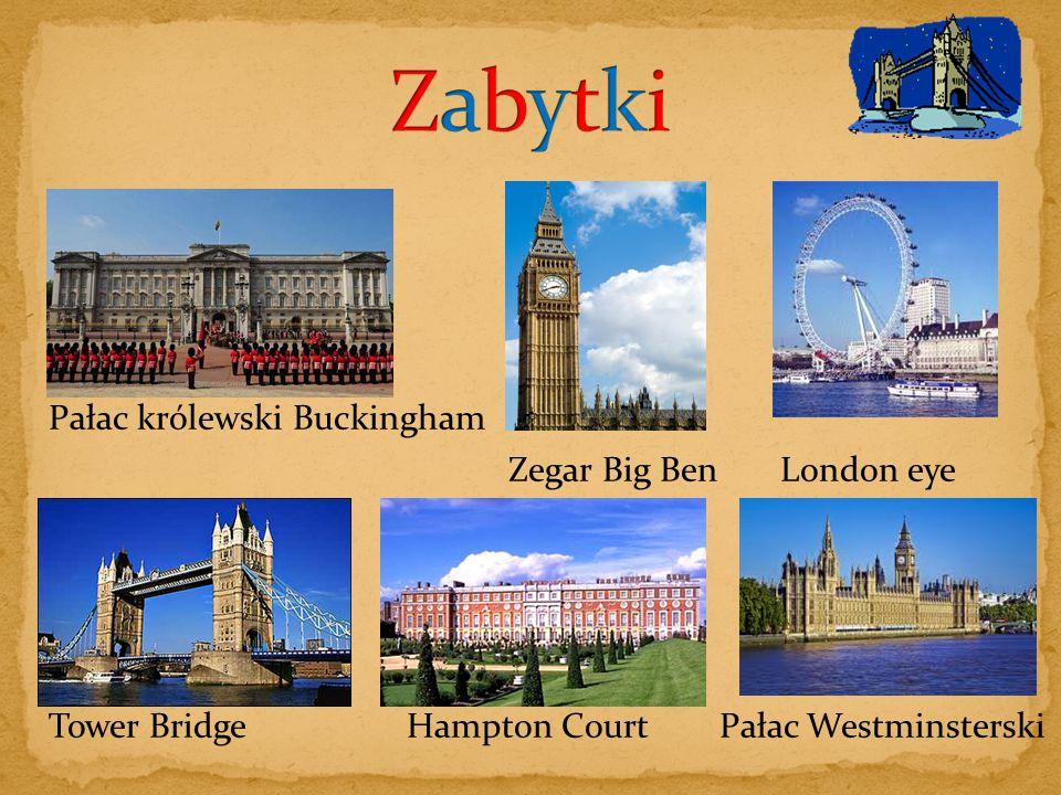 Zabytki Pałac królewski Buckingham Zegar Big Ben London eye
