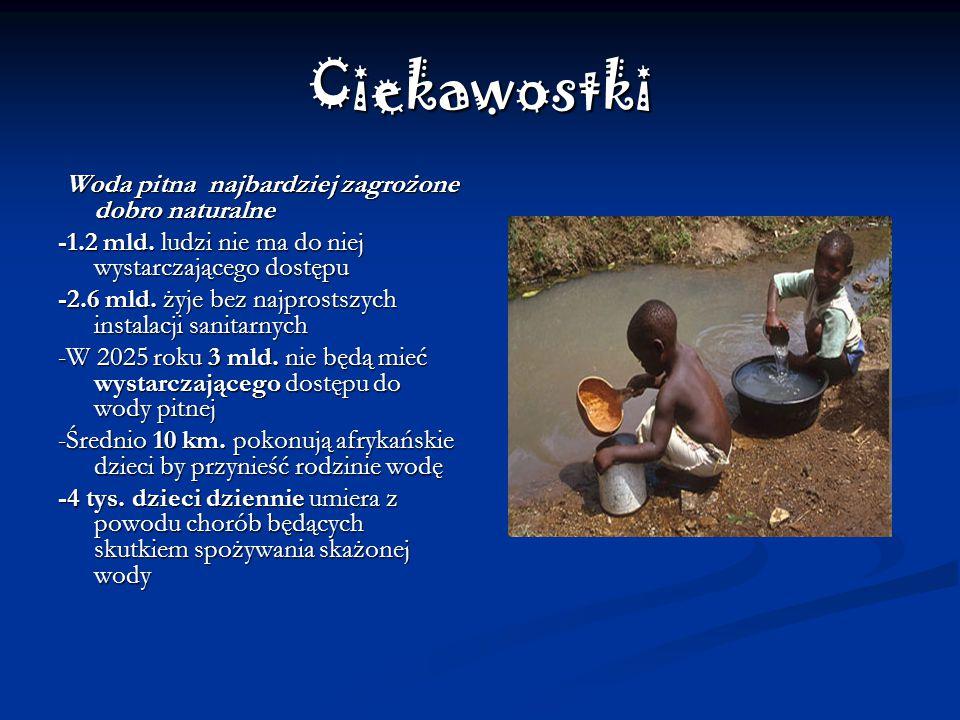 Ciekawostki Woda pitna najbardziej zagrożone dobro naturalne