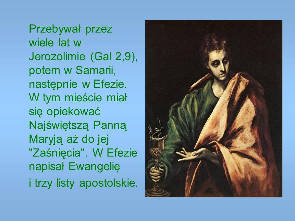 Przebywał przez wiele lat w Jerozolimie (Gal 2,9), potem w Samarii, następnie w Efezie. W tym mieście miał się opiekować Najświętszą Panną Maryją aż do jej Zaśnięcia . W Efezie napisał Ewangelię