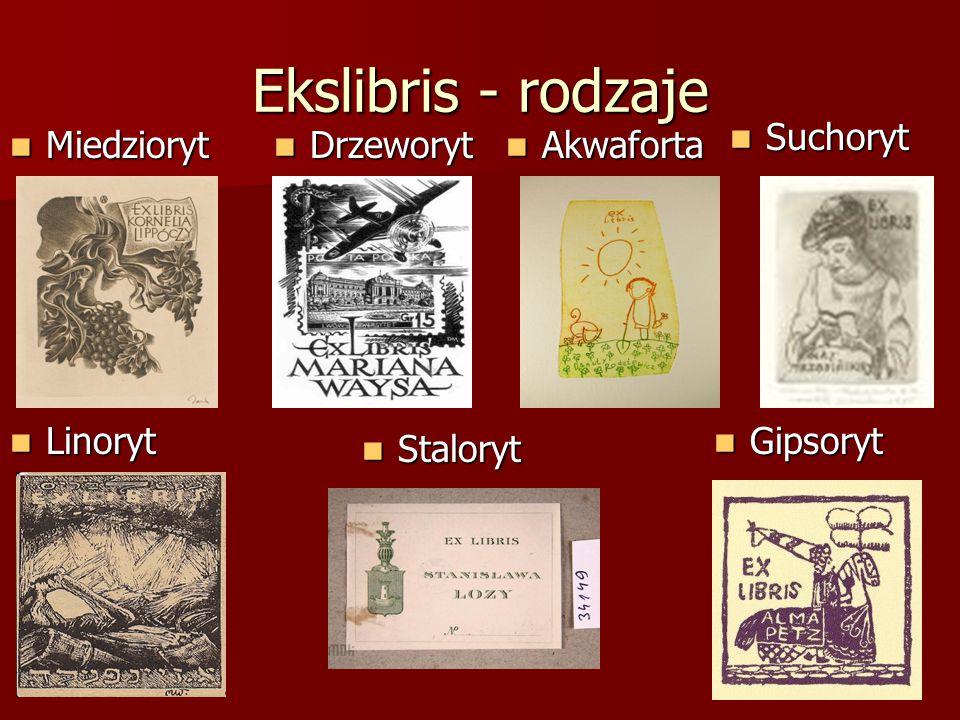 Ekslibris - rodzaje Suchoryt Miedzioryt Drzeworyt Akwaforta Linoryt