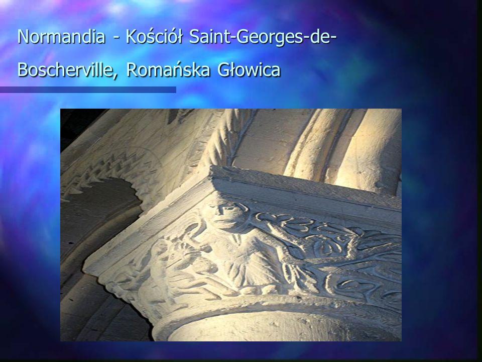 Normandia - Kościół Saint-Georges-de-Boscherville, Romańska Głowica