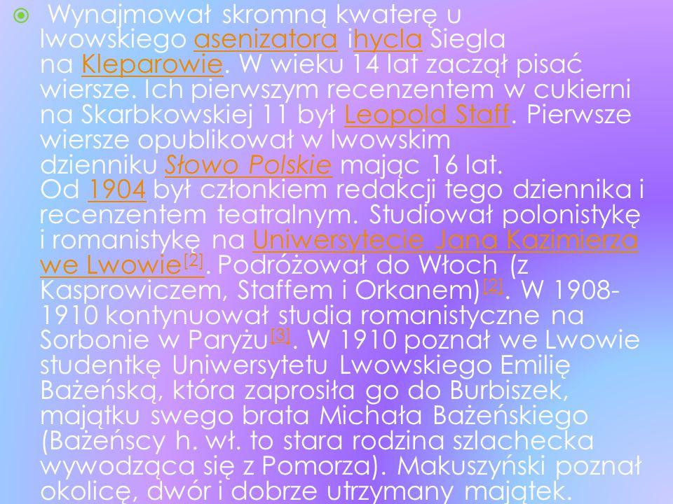 Wynajmował skromną kwaterę u lwowskiego asenizatora ihycla Siegla na Kleparowie.