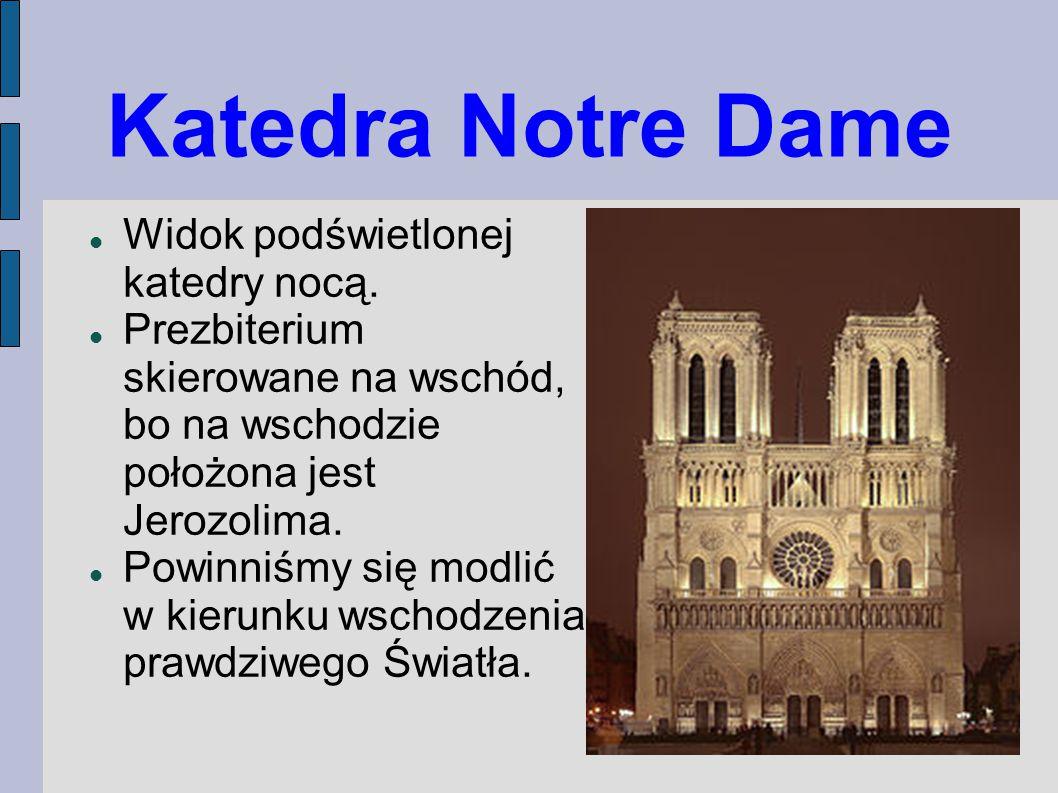Katedra Notre Dame Widok podświetlonej katedry nocą.