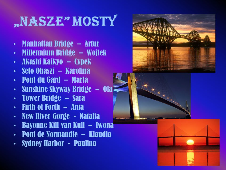 """Nasze mosty Manhattan Bridge – Artur Millennium Bridge – Wojtek"