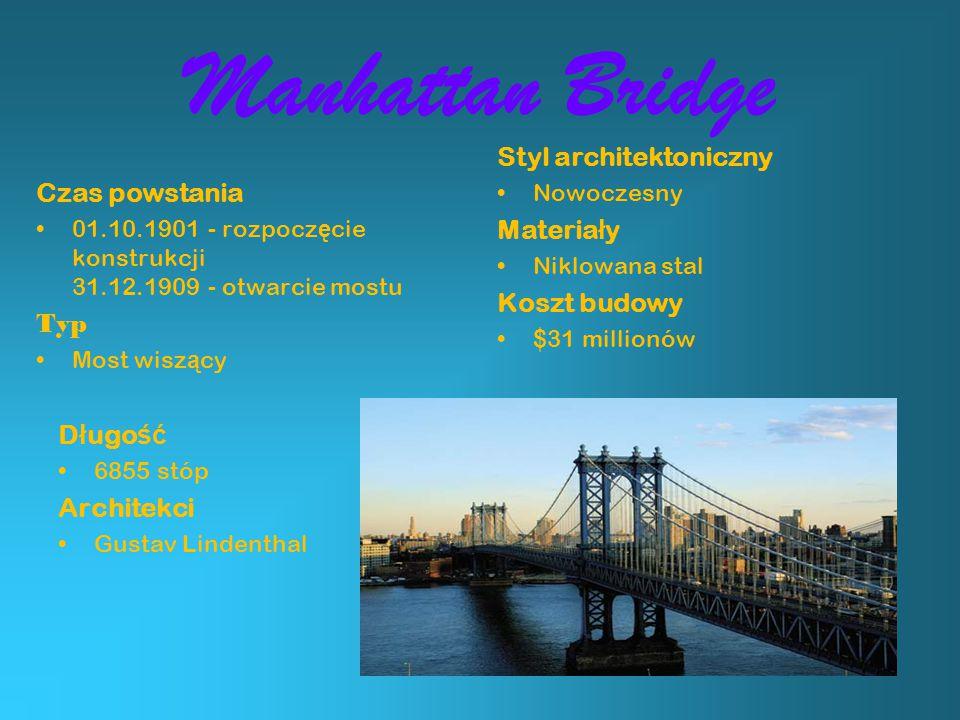 Manhattan Bridge Styl architektoniczny Czas powstania Materiały
