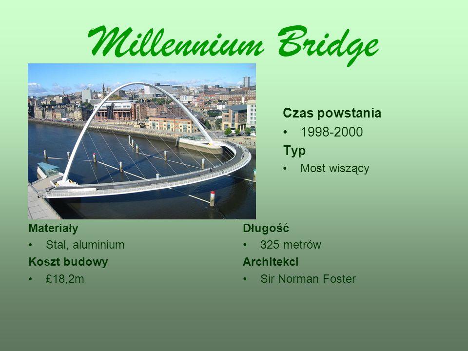 Millennium Bridge Czas powstania 1998-2000 Typ Most wiszący Materiały