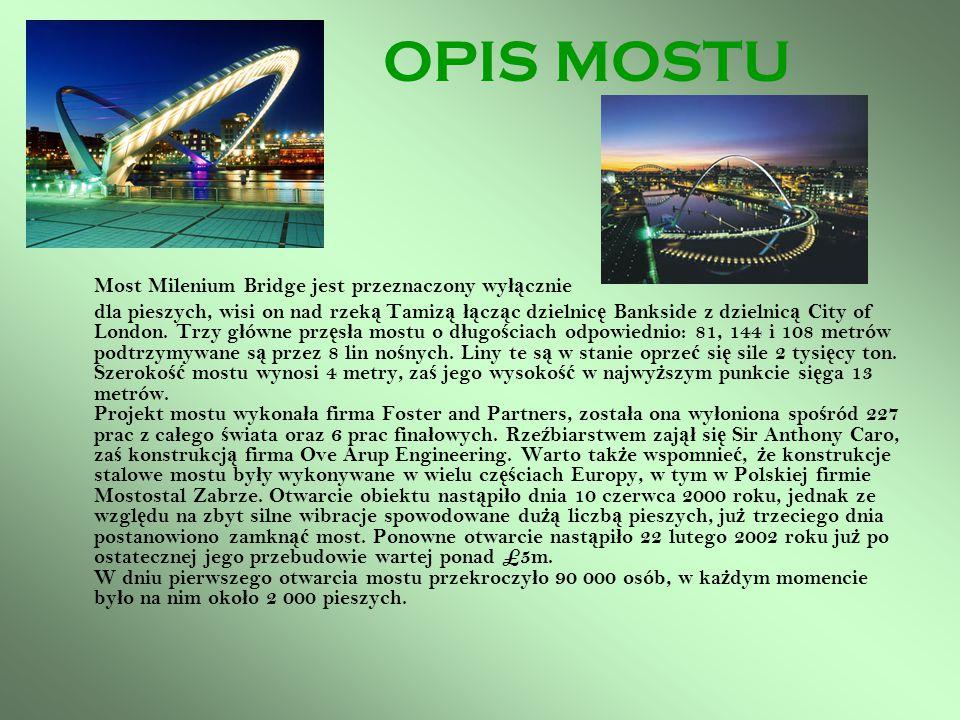 OPIS MOSTU Most Milenium Bridge jest przeznaczony wyłącznie