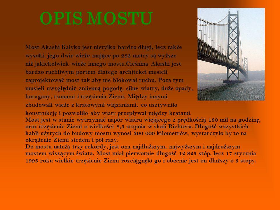 OPIS MOSTU Most Akashi Kaiyko jest nietylko bardzo długi, lecz także