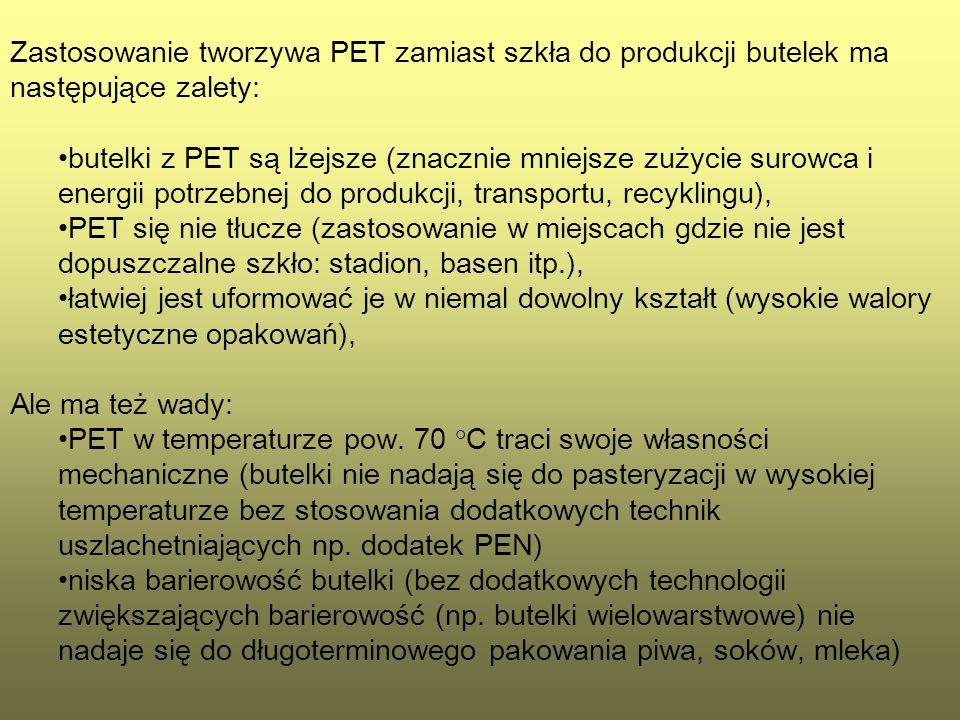Zastosowanie tworzywa PET zamiast szkła do produkcji butelek ma następujące zalety: