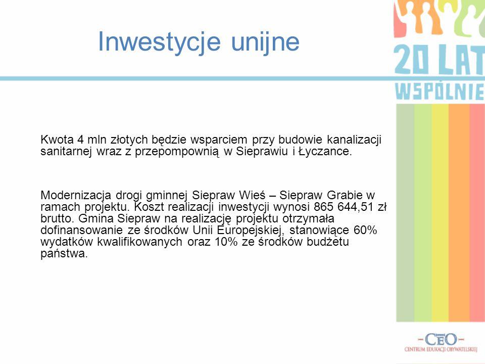 Inwestycje unijne Kwota 4 mln złotych będzie wsparciem przy budowie kanalizacji sanitarnej wraz z przepompownią w Sieprawiu i Łyczance.