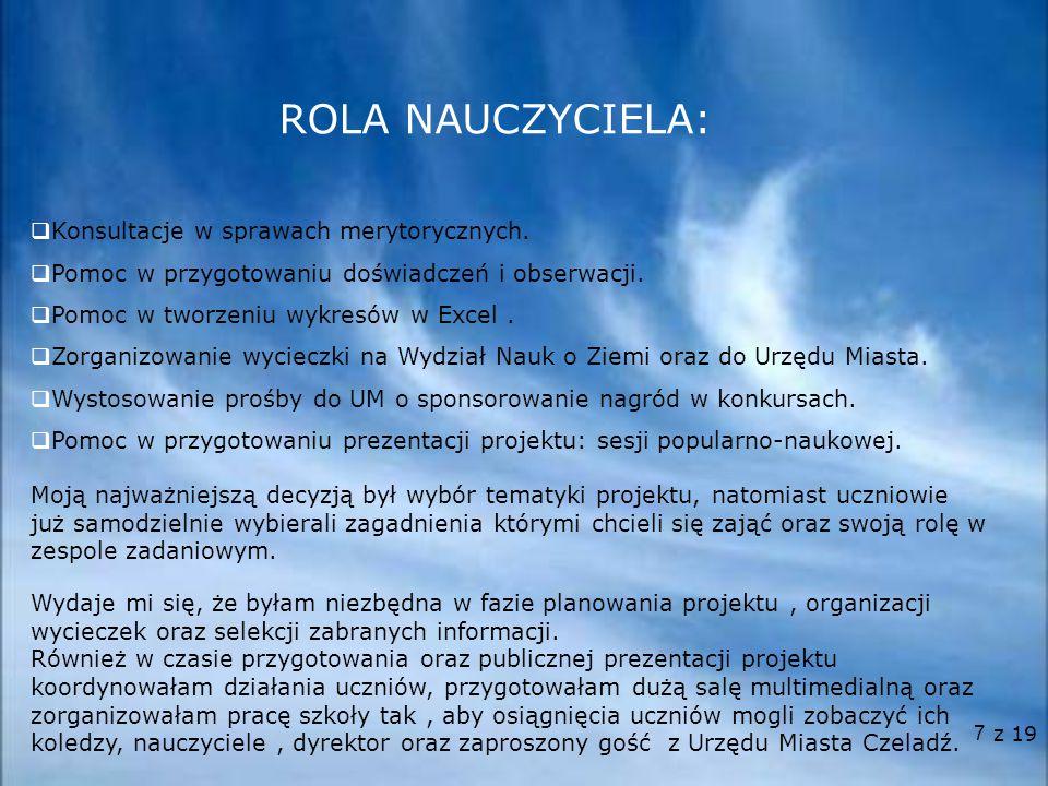 ROLA NAUCZYCIELA: Konsultacje w sprawach merytorycznych.