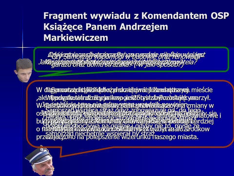 Fragment wywiadu z Komendantem OSP Książęce Panem Andrzejem Markiewiczem