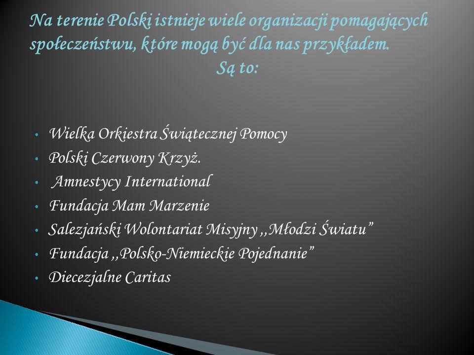 Na terenie Polski istnieje wiele organizacji pomagających społeczeństwu, które mogą być dla nas przykładem. Są to: